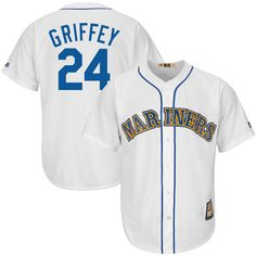 Majestic Ken Griffey Jr Seattle Mariners White Cool Base Cooperstown Collection Player Jersey