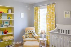 Yellow Cloud-themed Nursery - gray and yellow continues to be a popular color scheme!