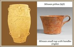 Minoan Pithos and small cup with a handle