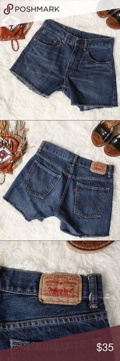 """Vintage Levi 505 Cutoffs Vintage Levin505 jeans turned into cutoffs! Classic and trendy all at the same time. High waisted and a medium wash! The perfect """"mom"""" Jean cutoffs! Levi's Shorts Jean Shorts"""