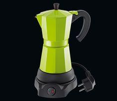 """Cilio Espressokocher """"Classico"""" 6 Tassen elektrisch -  Aluminium farbig beschichtet, Ø 11,5 cm, Höhe 25 cm, 230V, 480W, CE, kabelloser Zentralkontakt 360°, Warmhaltefunktion."""