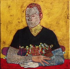 "Saatchi Art Artist Gustavo Ortiz; Collage, ""Self-portrait at the table I"" #art"