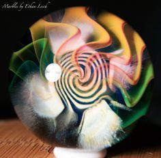 "1.52"" HANDMADE MARBLE SIGNED BY ~ETHAN LESCH~ BOROSILICATE, BORO, ART, MIB #Glass"