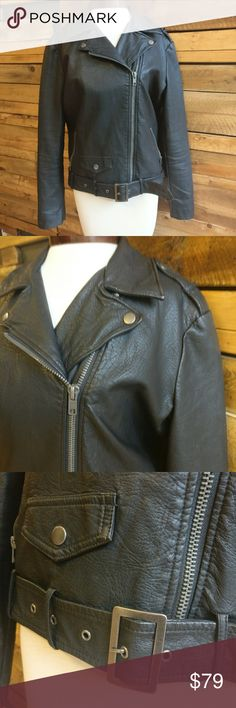 Silence + Noise Vegan Leather Moto Jacket Silence + Noise by Urban Outfitters Vegan Leather Moto Jacket  Lots of details on this jacket: zippers and snaps on front, zippers at end of sleeves, flap over pockets, belt with silver buckle at bottom  Gently used, great condition!  Size small Urban Outfitters Jackets & Coats