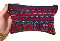 Colorful Embroidered Make up Bag -  Handmade Traditional Palestinian Embroidery by Shaymas on Etsy
