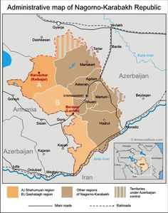 Administrative Map Of Nagorno Karabakh. Shows The Qashatagh (or Kashatagh)  Region As
