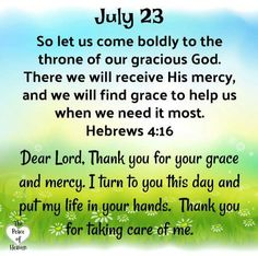 """""""☀️☕Good Morning Brothers/Sisters 🙏So let us come boldly to the throne of our gracious God.There we will recieve His mercy,and we will find grace to help us when we need it most. - Hebrews A Bless Daily Devotional Prayer, Daily Scripture, Prayer Verses, Daily Prayer, Bible Scriptures, Christian Affirmations, Daily Affirmations, Daily Christian Prayers, Psalms Quotes"""