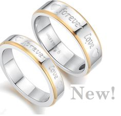 "Titanium Rings his and hers Promise Rings ""forever love"" Couple Wedding Bands Valentine's day ring Wedding Band Sets, Engagement Wedding Ring Sets, Wedding Rings, Engagement Jewelry, Stainless Steel Wedding Bands, Stainless Steel Rings, Ring Ring, Rolex, Marc Jacobs"