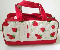 "Vintage Retro Look Strawberry Quilted Makeup Bag Set With Handles 11"" x 6"" #Unknown"