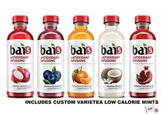 Bai5, 5 Calorie Healthy Water Variety Pack Of 5 Bottles 5 Flavores (Brasilia Blueberry, Costa Rica Clementine, Ipanema Pomegranate, Molokai Coconut, Sumatra Dragonfruit) Naturally Sweetened, Antioxidant Infused Beverage 18oz Bottles. Includes Custom Varietea Low Calorie Mints!!! >>> Continue with the details at the image link. Coconut Water Recipes, Coconut Water Benefits, Coconut Drinks, Healthy Water, Healthy Drinks, Weight Loss Water, Coconut Cream, Pomegranate, Blueberry