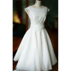 Audery Hepburn Style 1950s Vintage Satin Organza Wedding Dress $128.98