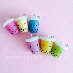 Kawaii Bubble Tea Boba Polymer Clay Charm