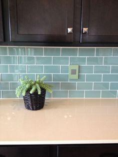Blue Green Glass Subway Tile Backsplash for Dark Kitchen Cabinets Glass Subway Tile Backsplash, Green Subway Tile, Blue Glass Tile, Backsplash With Dark Cabinets, Glass Tile Backsplash, Dark Kitchen Cabinets, Subway Tile Kitchen, Subway Tiles, Kitchen Backsplash