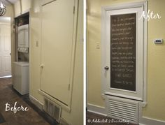 This blogger disguised her ugly HVAC closet door by turning it into a framed custom chalkboard. I like how she covered the vent too. I have two of these things in my upstairs hallway!