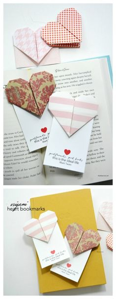 Valentine's Day | Make some Origami Heart Valentine Bookmarks with this simple step by step tutorial and video.  Free Printable Valentine's for friends and family.