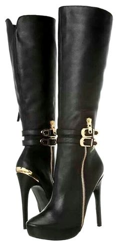 34 High Knee Boots That Always Look Fantastic - Women Shoes Styles & Design High Heel Boots, Heeled Boots, Bootie Boots, High Heels, Hot Shoes, Me Too Shoes, Cute Boots, Sexy Boots, Girls Shoes