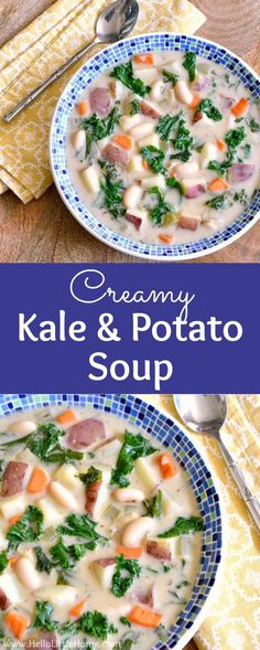 Creamy Kale and Potato Soup recipe . treat yourself to a bowl of this easy vegetarian soup recipe! It's total comfort food. This easy Kale Potato Soup is packed with veggies and make a great lunch or dinner in winter or fall. Vegetarian Kale Recipes, Potato Soup Vegetarian, Kale Potato Soup, Kale Soup Recipes, Best Soup Recipes, Healthy Recipes, Healthy Soups, Vegetarian Lunch, Soup Appetizers