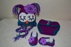 Owl Beanie diaper cover and booties by BellasBabyTreasures on Etsy