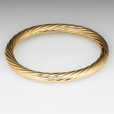 Estate Twisted Design Hinged Bangle Bracelet 18K Gold
