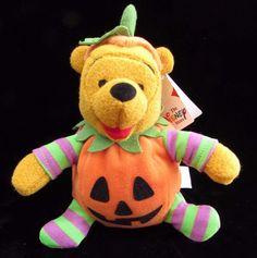 Winnie The Pooh Halloween Jack O Lantern Pumpkin Bean Bag Plush Disney Store 6