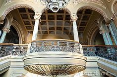 Old seashell like balcony in Casino building, art nouveau style, 1910. Constanta, Romania, Europe.