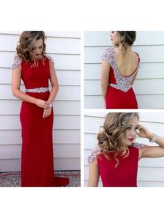 A Line Cap Sleeved Beaded Cheap Red Long Prom Dress