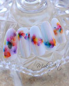 🌹Fantasy Nails Nailart Tips🌹 White ✨ Water Color 💐flower crown💐 Nail Art Hacks, Gel Nail Art, Gel Nails, Acrylic Nails, Marble Nails, White Nail Art, White Nails, White Nail Designs, Nail Art Designs
