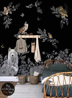 Dark Enchanted Forest wall mural Vintage wild animals wallpaper Peel and stick Fairytale Dark Nursery Black baby room wallpaper Baby Wallpaper, Wild Animal Wallpaper, Tier Wallpaper, Room Wallpaper, Vintage Wallpaper, Dark Nursery, Girls Bedroom, Wall Murals, Kids Room