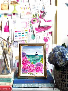 "Seas the day!  Painted by artist Evelyn Henson, all prints in the Spring Summer 2016 collection feature bold brushstrokes, colorful details, and the EH signature (can you find it?!). Your brightly decorated life starts here.   Print Details  Professionally printed on white rag 310 gsm paper with fade resistant inks for a high quality finish.       Frame Details  Framed in a 2"" wide matte enamel finish Depth of frame is 3/4"" and is made with real wood Includes a 3"" white border Shatter proof…"