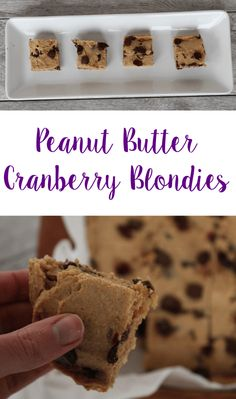 Peanut Butter Cranberry Blondies - Lean, Clean, & Brie #DairyFree #Dessert #HealthyEating