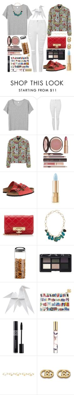 """Garden Bomber Jacket"" by prettyorchid22 ❤ liked on Polyvore featuring Monki, Topshop, Charlotte Tilbury, Birkenstock, Dolce&Gabbana, Chanel, Panacea, Prepara, NARS Cosmetics and Hermès"