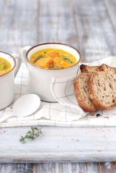 Roasted Squash Soup w/ Yams & Chard