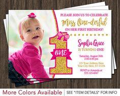 Miss ONEderful Birthday Invitation - Miss One-derful Birthday Invitations - Hot Pink and Gold First Birthday Invite by PuggyPrints