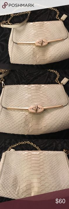 Coach Madison Pinnacle Python crossbody bag Gorgeous cream crossbody with gold hardware and shimmer Python leather. Good used condition. No dust bag. Coach Bags Crossbody Bags