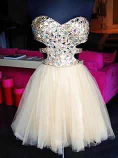 Simple Dress Stunning S-line Sparkle Short Beige Tulle Prom Dresses/Homecoming Dresses/Party Dresses/Cocktail Dresses  TUPD-7138