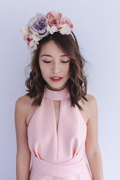 pastel romantic spring racing flower crown by kisforkani on Etsy