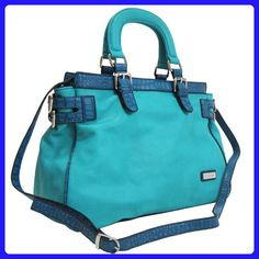 a755b926d9d7 Dasein Dasein Croco Trim Tote Bag w  Side Belted Accents -Blue - Totes (