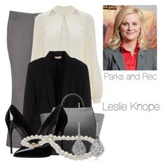 Leslie Knope- Parks and Recreation by twilight-vs-hunger-games-fan on Polyvore featuring polyvore fashion style Temperley London Maesta maurices Dolce&Gabbana ZAC Zac Posen clothing