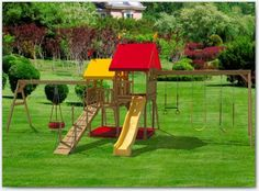 The Hours of Fun Big Backyard Swing Set. Encourage your children's health and imagination to flourish with the Hours of Fun wooden play set. Hours of fun, exercise and memories are sure to go along with this awesome wooden kid's swingset. Backyard Swing Sets, Big Backyard, Play Structures For Kids, Wood Swing Sets, Wooden Playset, Lawn Furniture, Amish Country, Outdoor Projects, Building