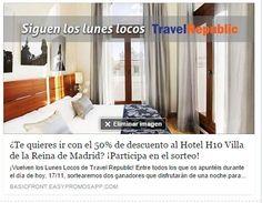 #LunesLocos ► Participa ahora y gana una estancia al 50% en el Hotel H10 Villa de la Reina 4* de #Madrid para el próximo Sábado.