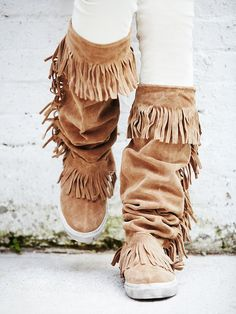 Jeffrey Campbell + Free People Sedona Sneaker Mocc Boot at Free People Clothing Boutique Bohemian Shoes, Boho Boots, Cowgirl Boots, Fly Boots, Women's Boots, Fringe Moccasin Boots, Fringe Boots, Cute Shoes, Me Too Shoes