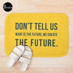 - Printed foam with non-slip bottom - High quality full color printing that won't fade - 100% polyester microfiber face and polyester back - Available in multiple sizes - Machine wash cold  #weperceivestyle #yellowbathmat #bathmat #bathroomdecor #yellowlove #home #futurequote #quotedesign #newdesigns #minimallove #designforliving #designlovers #livingproducts