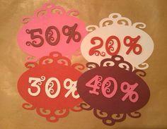 Carteles descuentos para tienda de moda. Realizados con Cricut.  Http://modayabalorios.blogspot.com