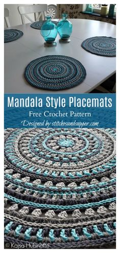 Mandala Placemat Free Crochet Pattern Mandala Style Placemats Free Crochet Pattern Related posts:How To Make The Jasmine Stitch Crochet Motif Mandala Crochet, Crochet Motifs, Crochet Blanket Patterns, Crochet Doilies, Free Mandala Crochet Patterns, Doily Patterns, Dress Patterns, Knitting Patterns, Learn To Crochet