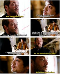"[GIFSET] ""So my demons were too polite?"" 8x21 The Great Escapist"