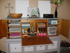 Old Secretary Desk used as Scrapbooking Center!