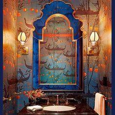 Powder room envy. Via @globalinteriordesign