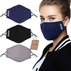 Dust Mask,Aniwon 3 Pack Anti Dust Pollution Mask with 6 Pcs Activated Carbon Filter Insert Washable Cotton Mouth Mask with Adjustable Straps Mouth Mask Fashion, Fashion Face, Different Nose Shapes, Masque Anti Pollution, Flu Mask, Best Masks, Mask Design, Diy Face Mask, Face Masks