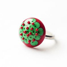 Christmas style green and red lampwork by EmeraldFlameCrafts, $20.00