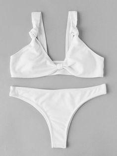 Knot Detail Ribbed Bikini Set
